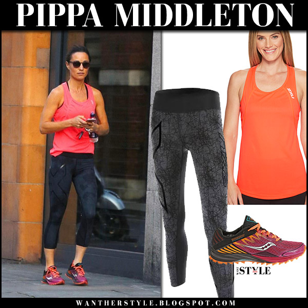 Pippa Middleton in orange top and black leggings 2xu gym workout outfit august 18 2017