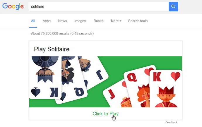 Solitaire in Google