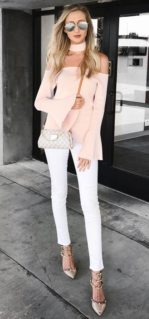 white and blush fashion look: of shoulder top + bag + skinny pats + heels