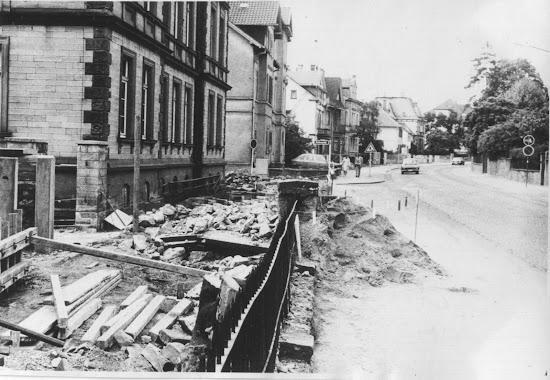 Die Darmstädter Straße Mitte 1975, die Bauarbeiten sind im vollem Gange, Foto: BA, Stadtarchiv Bensheim