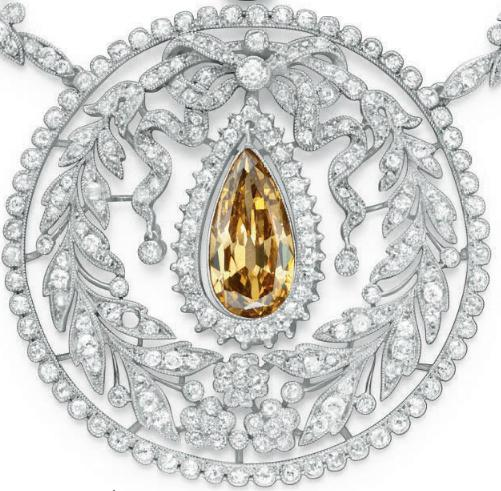 Pendant detail; a Belle Epoque colored diamond necklace, circa 1910.