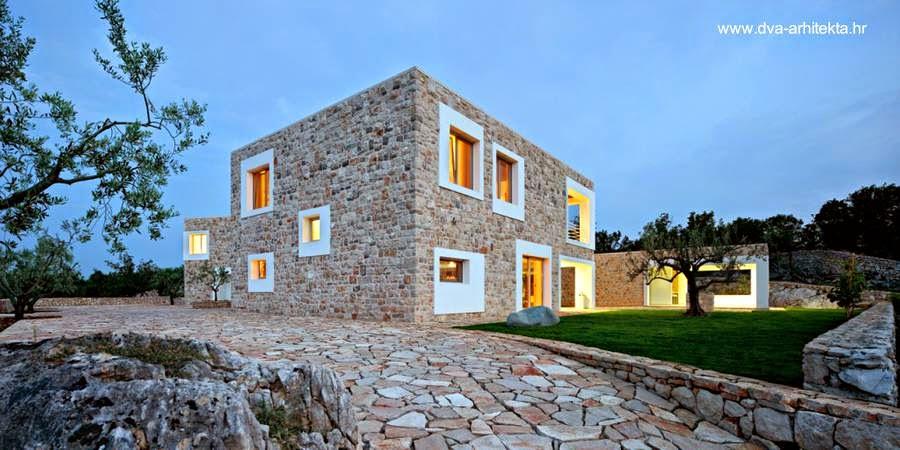 Casa de piedra contemporánea de dos plantas en Croacia