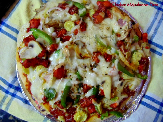 how to make chicken mushroom pizza