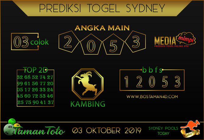 Prediksi Togel SYDNEY TAMAN TOTO 03 OKTOBER 2019