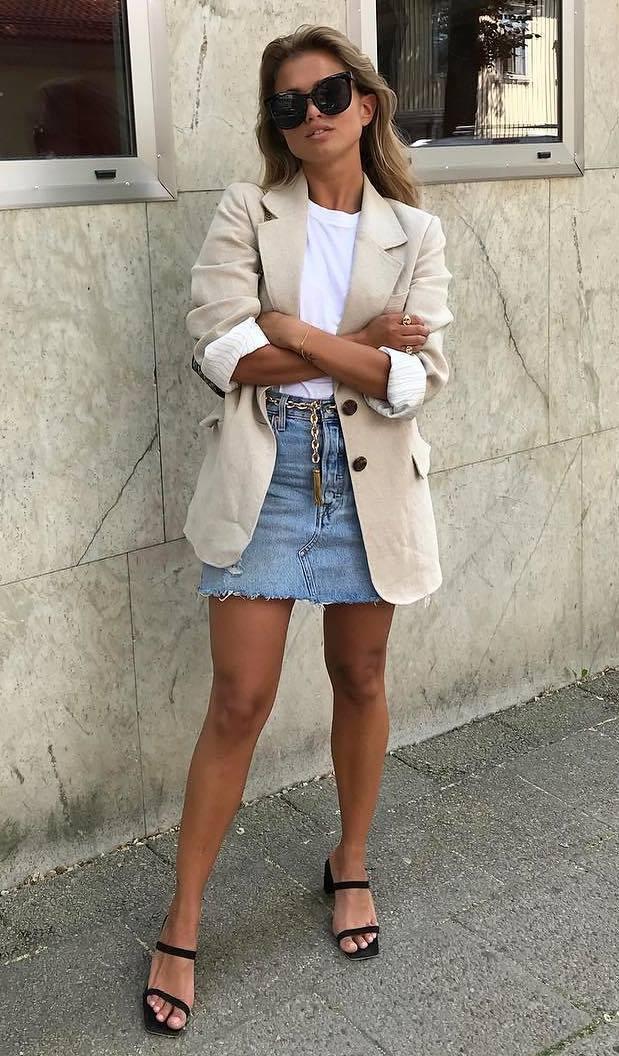 what to wear with a beige blazer : white top + denim skirt + heels
