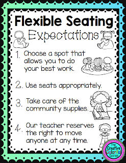Flexible Seating Expectations: 1) choose a spot that allows you to do your best work; 2) use seats appropriately; 3) take care of the community supplies; 4) our teacher reserves the right to move anyone at any time.