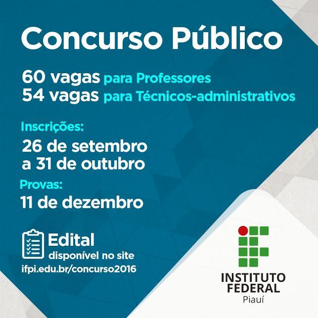 Jornal da parna ba ifpi lan a concurso com 114 vagas para for Concurso para profesores 2016