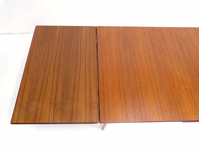 J.O. Carlsson Swedish Teak Draw-Leaf Dining Table Top Left