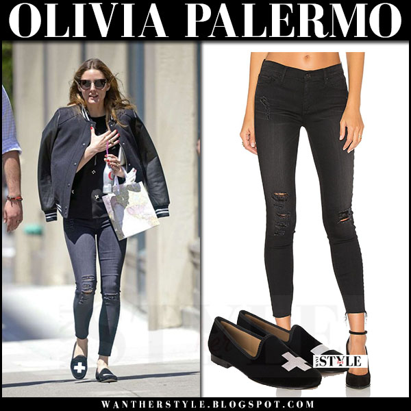 Olivia Palermo in black bomber and ripped skinny jeans black orchid noah what she wore may 2017