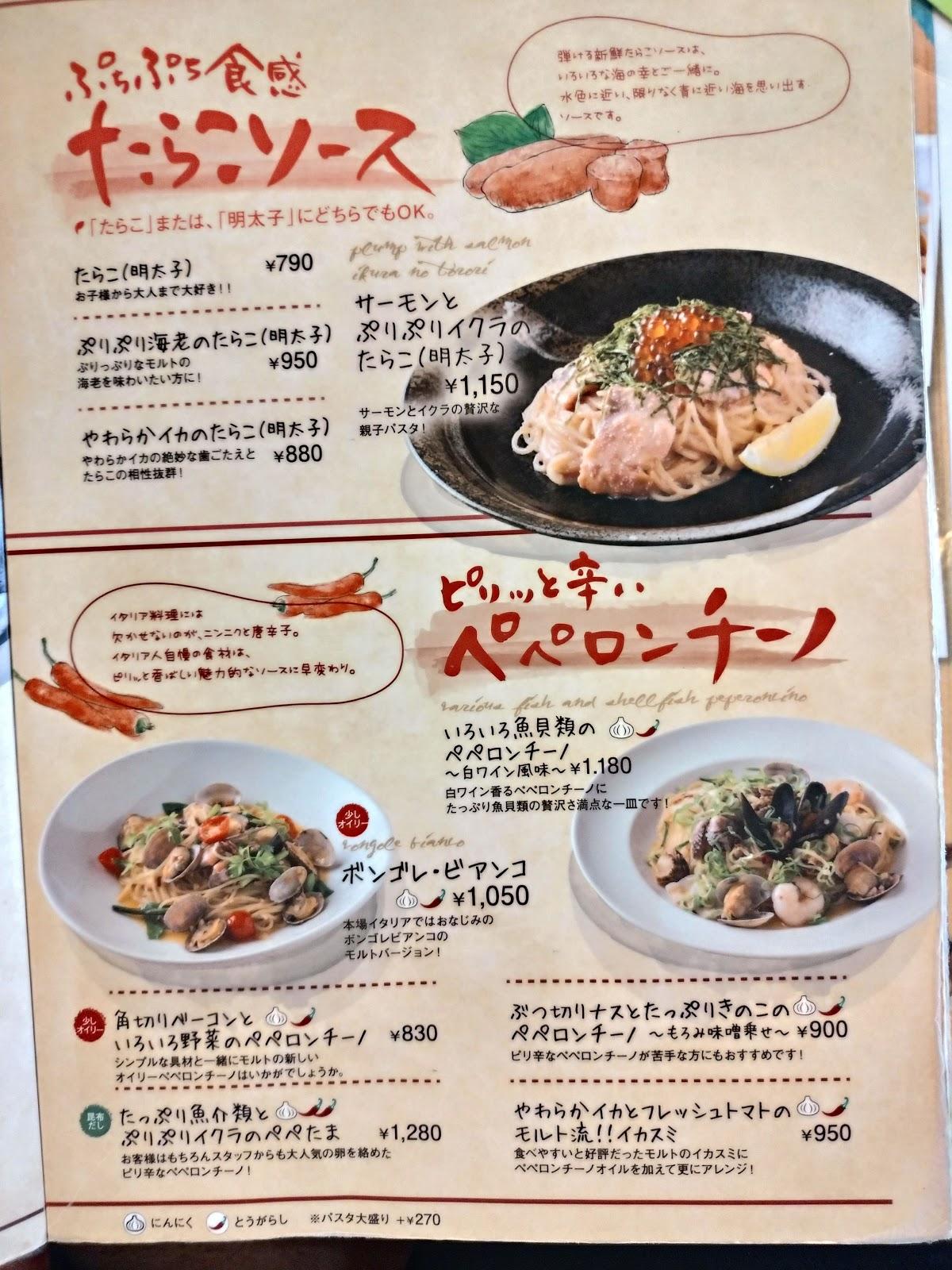 池田市ランチおすすめイタリアンモルトボーノメニュー表
