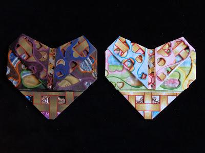 Origami corazones proceso 2