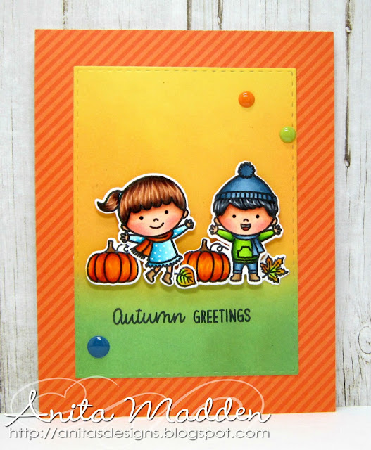 Sunny Studio Stamps: Fall Kiddos Orange Background Fall Themed Cards by Anita Madden