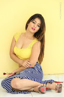 Cute Telugu Actress Shunaya Solanki High Definition Spicy Pos in Yellow Top and Skirt  0201.JPG