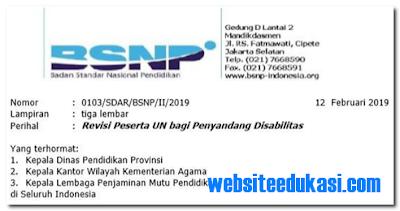 Revisi Peserta UN bagi Penyandang Disabilitas 2019