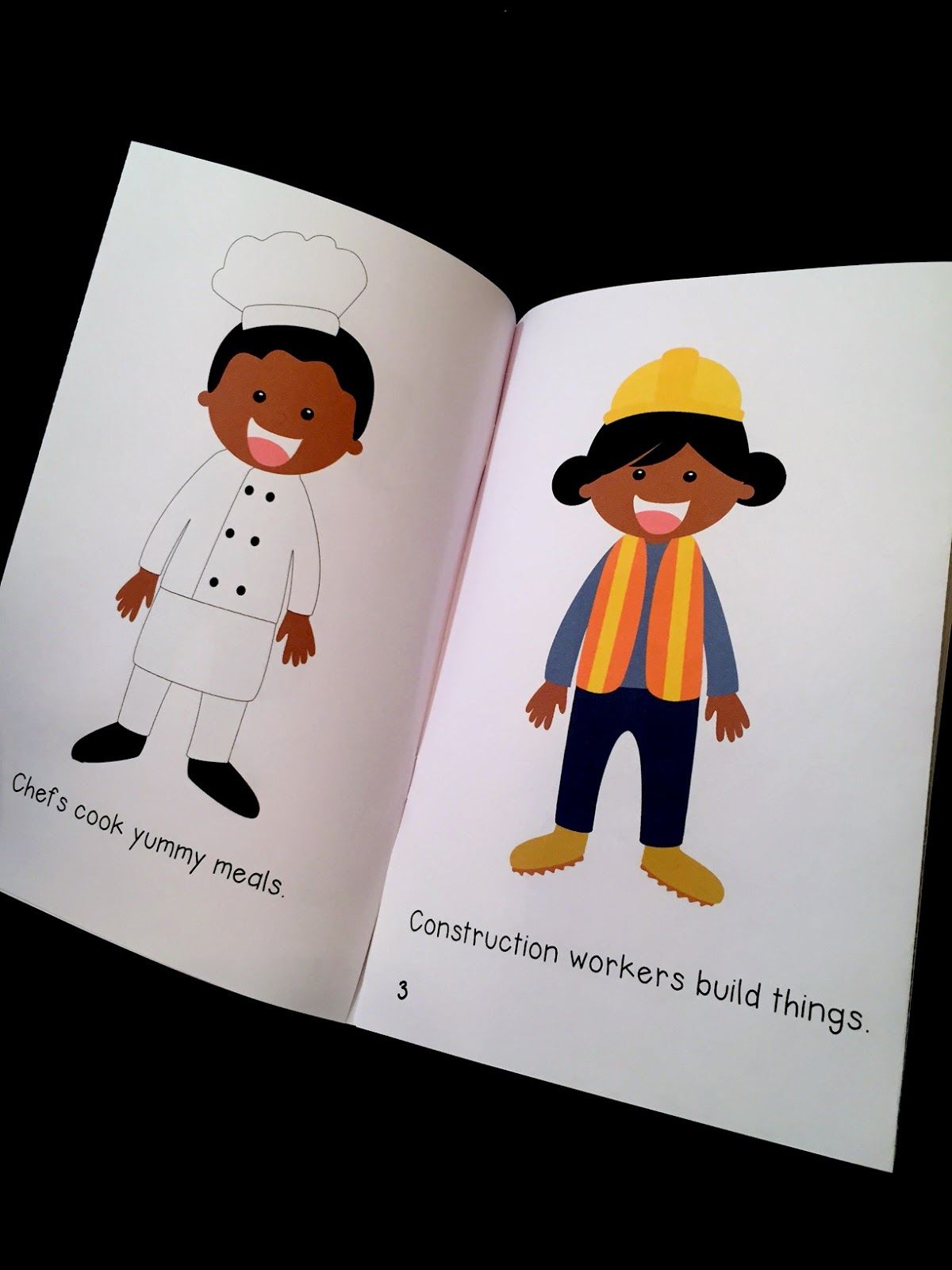each page in this easy reader freebie features a different community helper and a simple sentence explaining their job - Community Workers