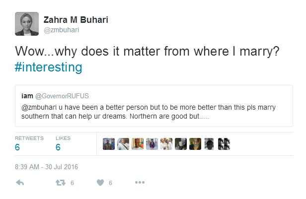 Man lectures Zahra Buhari on why she should NEVER marry a northerner