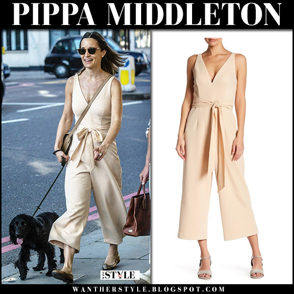 Pippa Middleton wears beige belted jumpsuit few moda royal fashion april 21