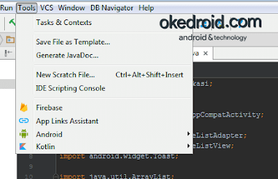Tools > Kotlin Android Studio