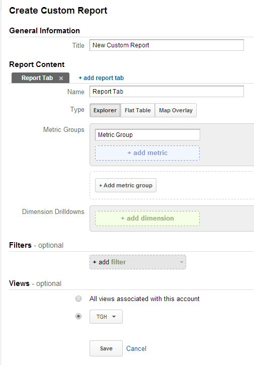 Custom Reports for Blogger using Google Analytics 3