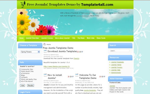 Free Floral Flowers Spring Joomla 1.5 Theme Template