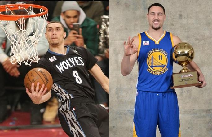 Zach Lavine (left) retains NBA Slam Dunk title; Klay Thompson (right) wins 3-point Contest.