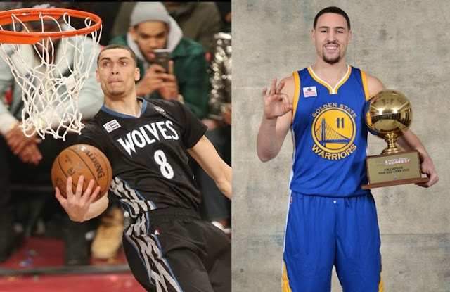 Zach Lavine (left) retains NBA Slam Dunk title; Klay Thompson (right) wins 3-point Contest.