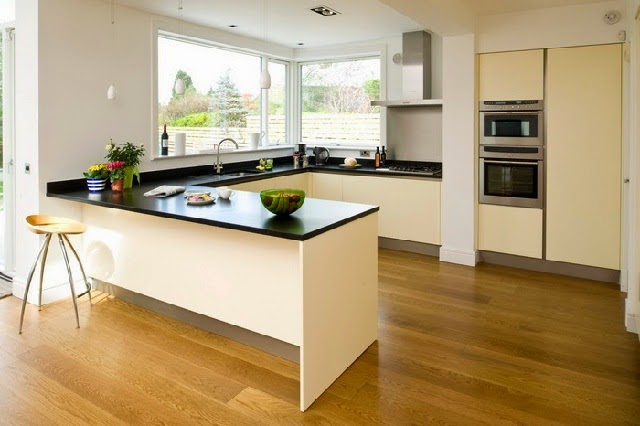 Modern Kitchen with Solid Wood Floor