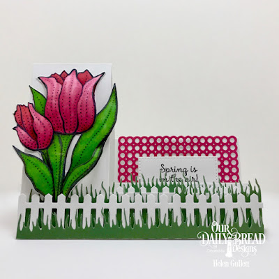 Our Daily Bread Designs Stamp Set: Tulips, Custom Dies: Tulip, Circle Scalloped Rectangles, Side Step Card, Pierced Rectangles, Fence Border, Grass Hill, Grass Lawn, Paper Collection:Boho Bolds