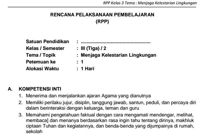 Download RPP SD Kelas III Semester 2 Tema Menjaga Kelestarian Lingkungan Kurikulum 2013 Format PDF