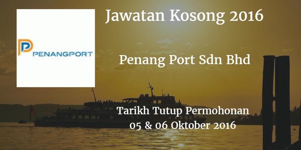 Jawatan Kosong Penang Port Sdn Bhd 05 & 06 Oktober 2016