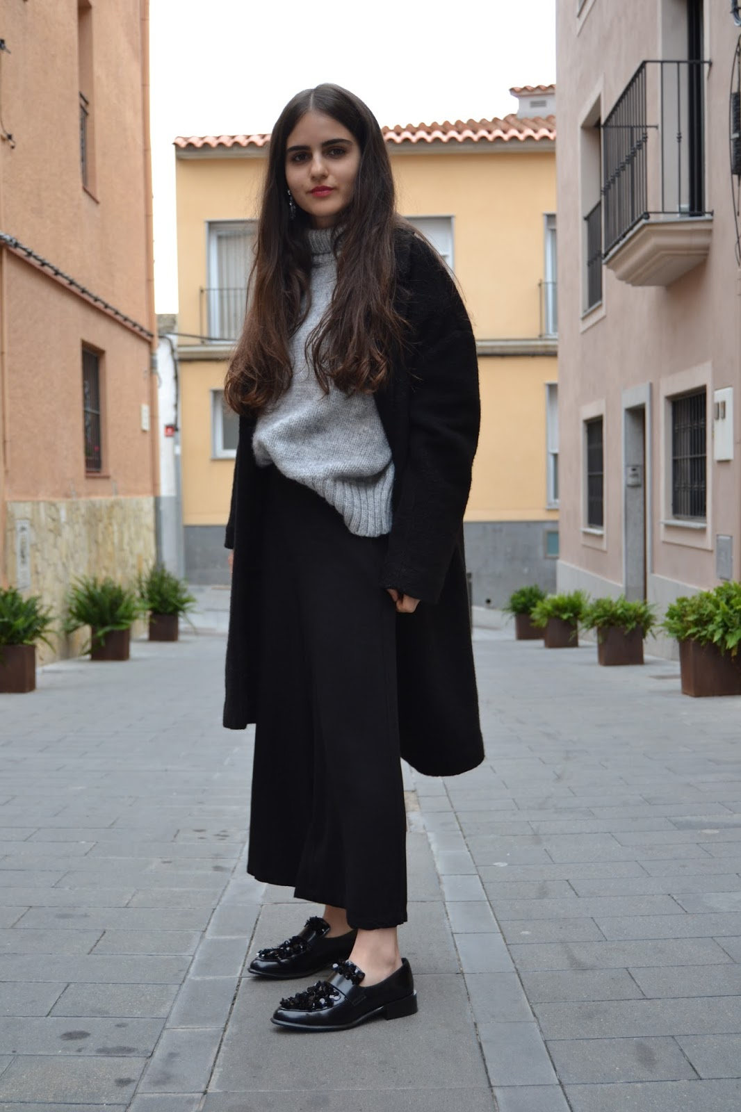coat with culottes