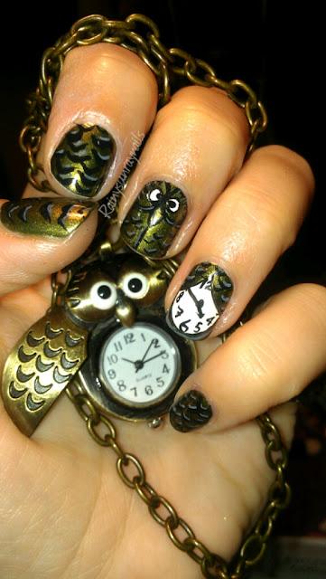 Rainysunraynails: Inspirational Nails. Can Owls Keep Time?