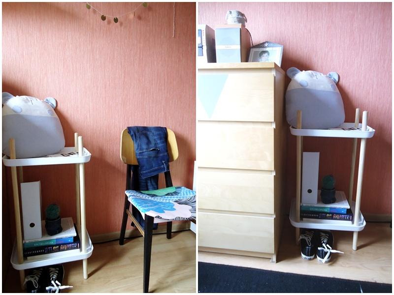 regał hand made z tac, pomocnik w stylu scandi, krzesło retro
