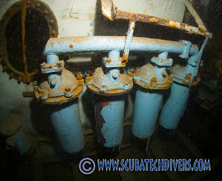The engine blocks and pipes inside the Nemesis III wreck in Protaras, Cyprus