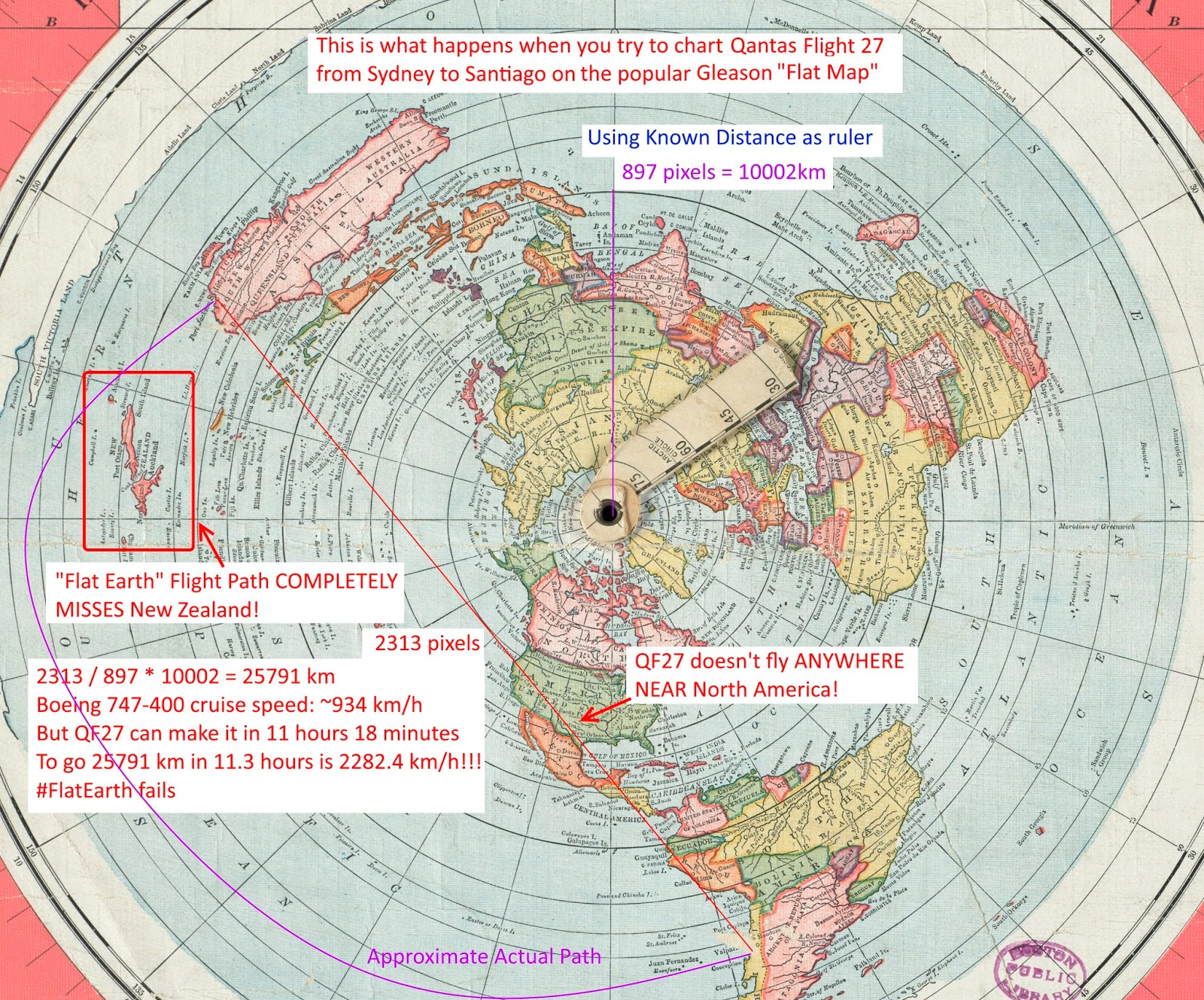 Flat earth insanity flat earth follies flight times versus qantas flight 27 impossible on flat earth gumiabroncs Gallery