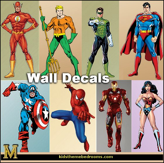 superhero wall decals - batman - spiderman - superman decor