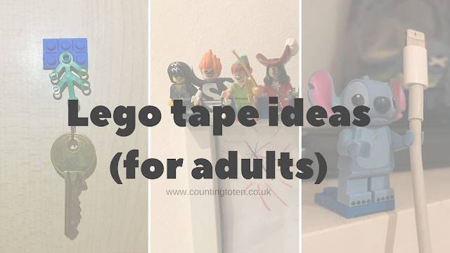 ideas of things to do with lego tape for adults including key holder, picture frame and cable holder