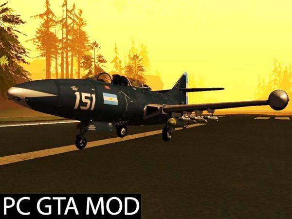 Free Download  F9F Cougar - Comando de Aviación Naval Argentina Mod for GTA San Andreas.