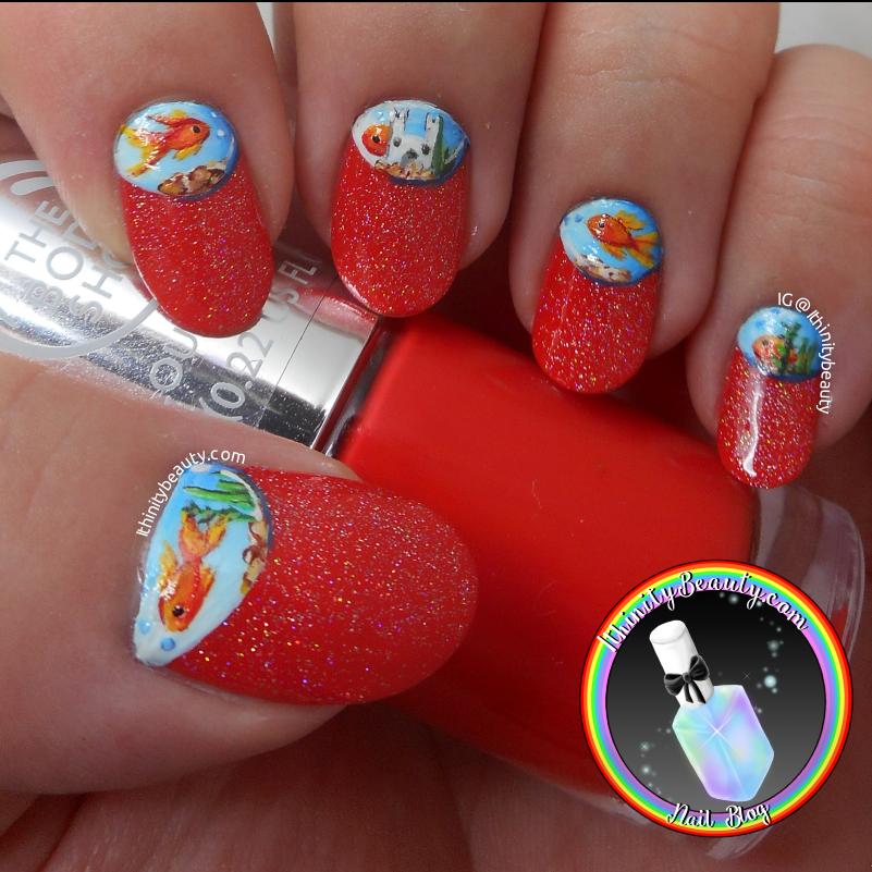 Freehand Half Moon Holo Fish Bowl Nails Ithinitybeauty Nail