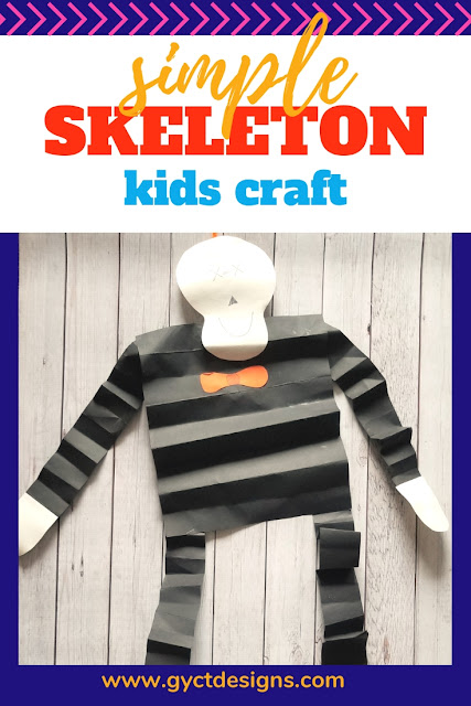 Looking for an easy preschool skeleton craft to make with your students or with your little ones at home.  Follow this step by step tutorial and free skeleton template to make your own fun hanging skeleton.