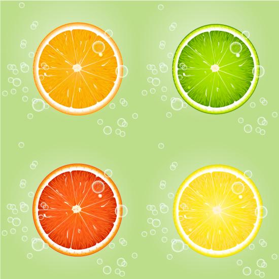 Rodajas de naranja lima y limón - Vector