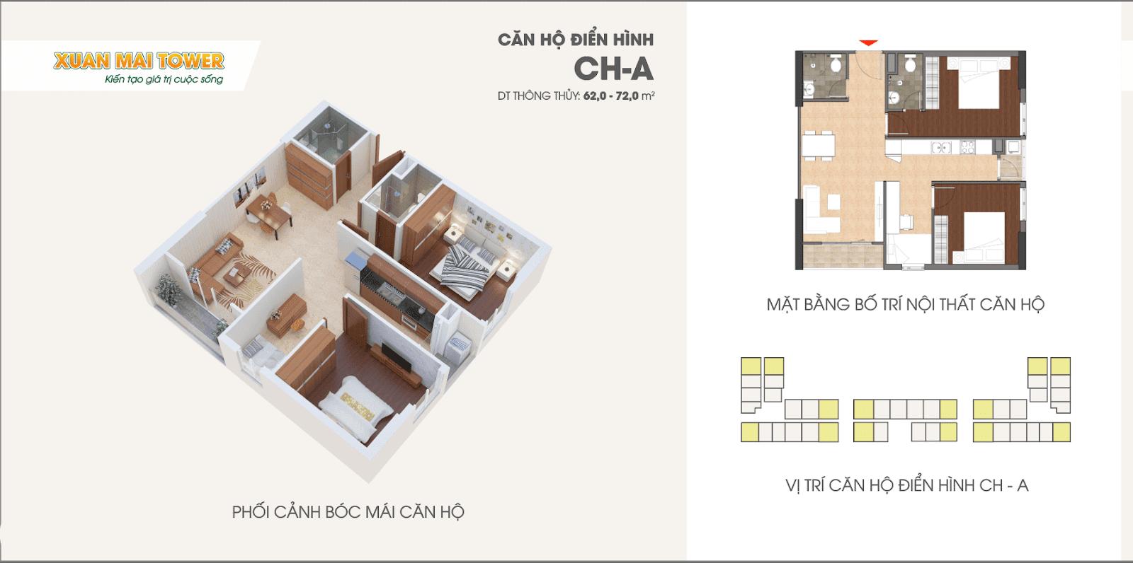 Căn hộ điển hình CH-A dự án Xuân Mai Tower