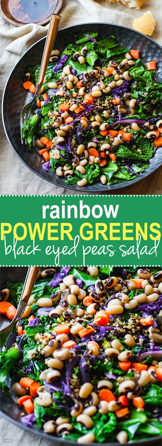 Rainbow Power Greens Salad with Black Eyed Peas {Vegan, Gluten Free}