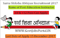 Sarva Shiksha Abhiyan, Sundargarh Recruitment 2017-318 Education Instructor