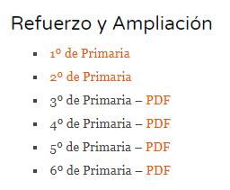 MATEMÁTICAS. FICHAS DE REFUERZO Y AMPLIACIÓN. TODOS LOS CURSOS DE PRIMARIA