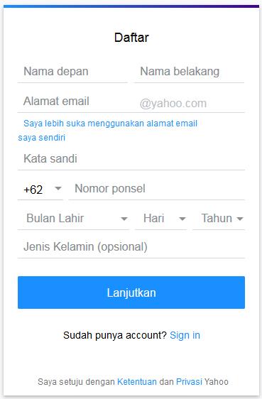 Mengisi data diri pada pendaftaran yahoo mail