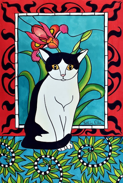 An art deco, and stained glass styled tuxedo cat painting by Dora Hathazi Mendes, Cats of Karavella Collection