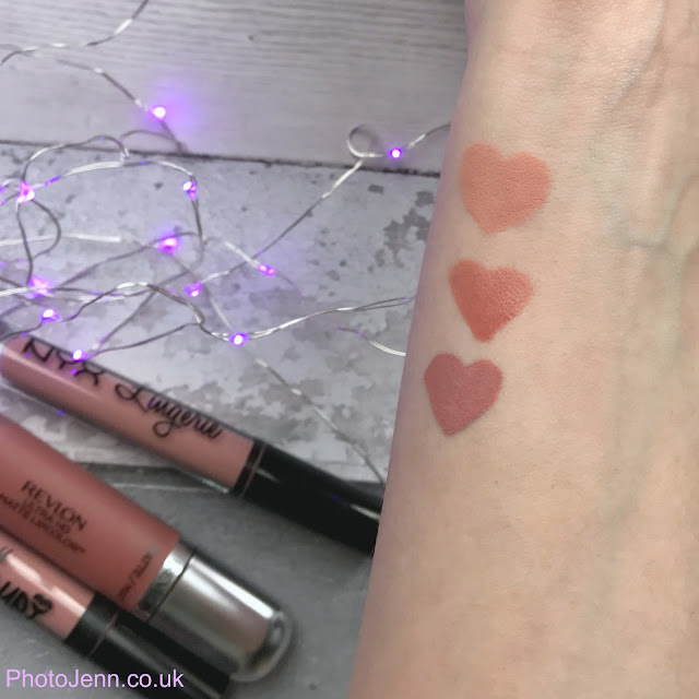 liquid-lipsticks-nyx-lip-lingerie-babydoll-Revlon-seduction-barry-m-pose-swatches