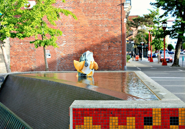 Interesting mosaic fountain in Chinatown, Victoria, BC