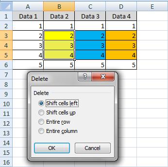 Shift cells merupakan suatu pilihan yang tersedia jikalau melaksanakan delete  Fungsi Shift Cells Pada Delete di Excel